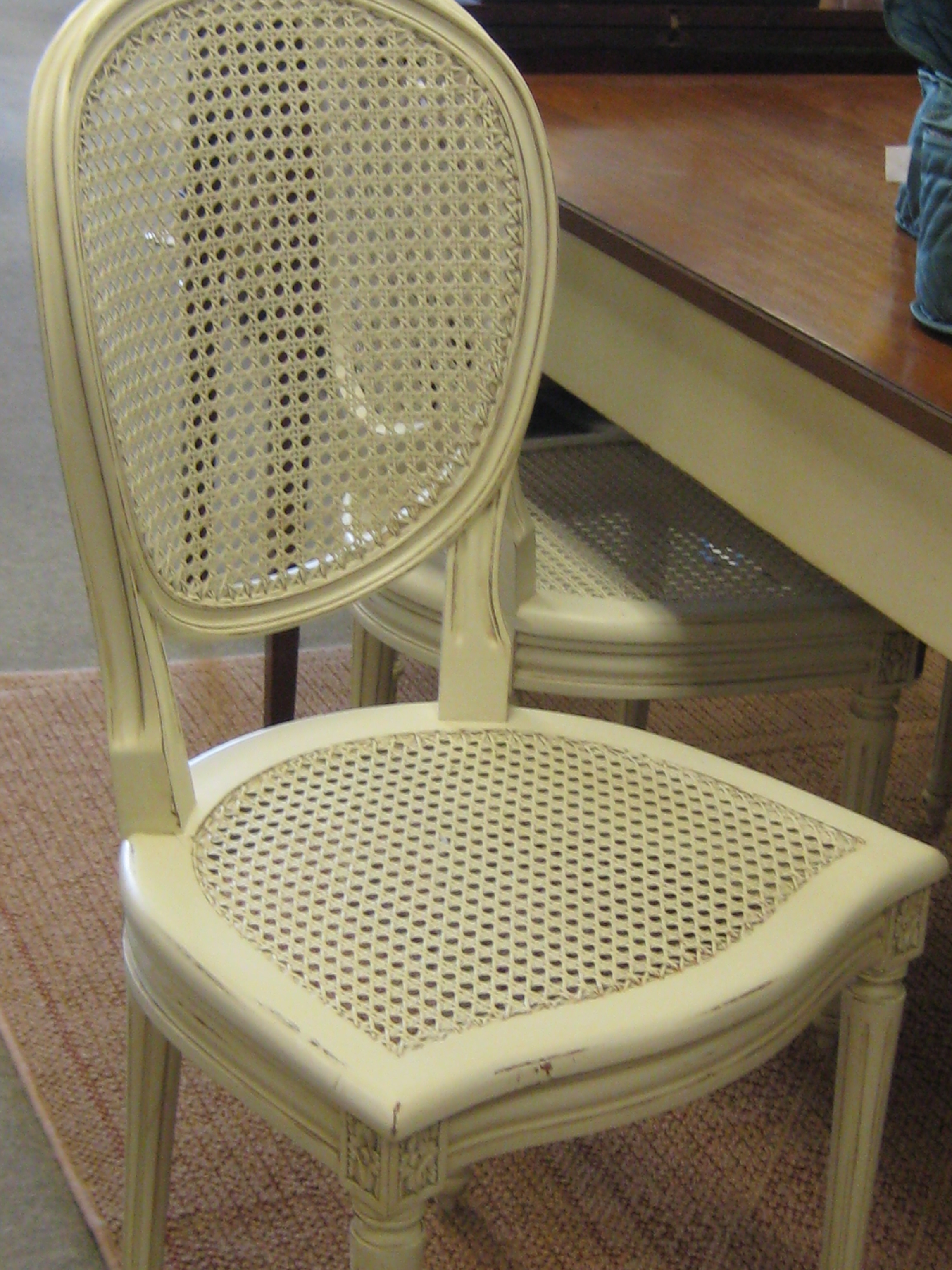 4 chairs and table with side draw at each end
