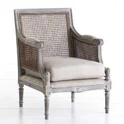 rLinen and Cane-Back Chair  from Wisteria