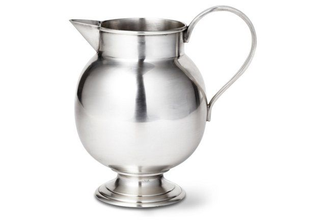 silver water pitcher