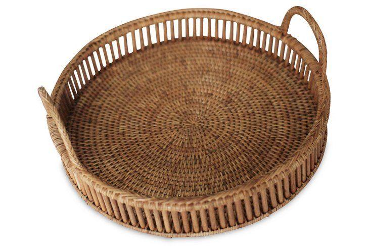 rattan serving basket