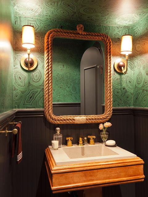 Nate Berkus emerald wallpaper powder room