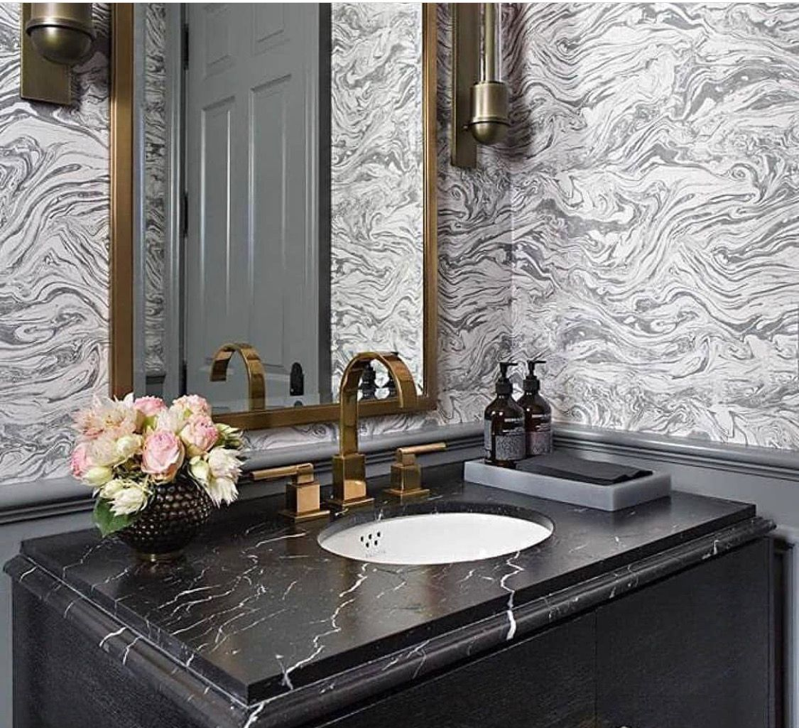 black and gray bathroom