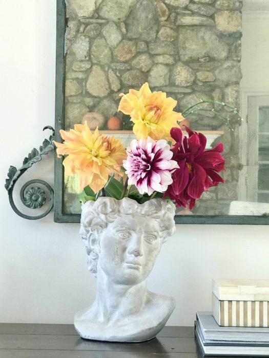stone vase garden daliahs mirrors